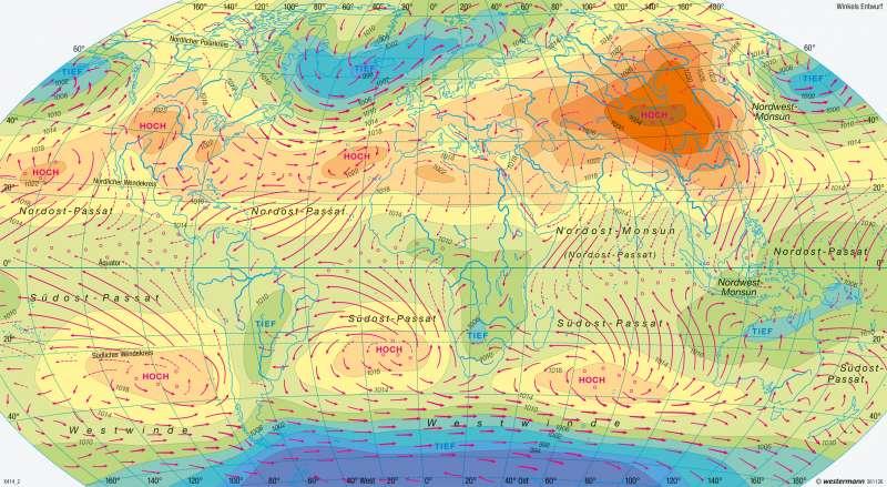 Erde   Luftdruck und Winde im Januar   Erde - Klima (genetische Gliederung), Luftdruck und Winde   Karte 248/3