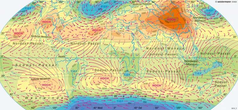 Erde | Luftdruck und Winde im Januar | Klimaelemente | Karte 174/5