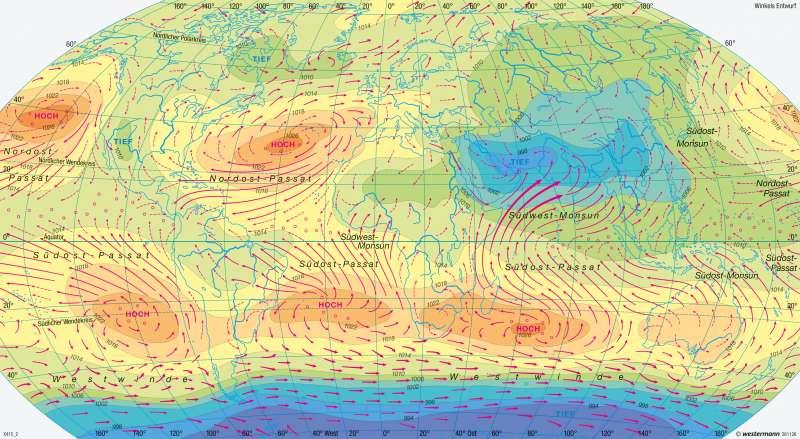 Erde | Luftdruck und Winde im Juli | Erde - Klima (genetische Gliederung), Luftdruck und Winde | Karte 249/4
