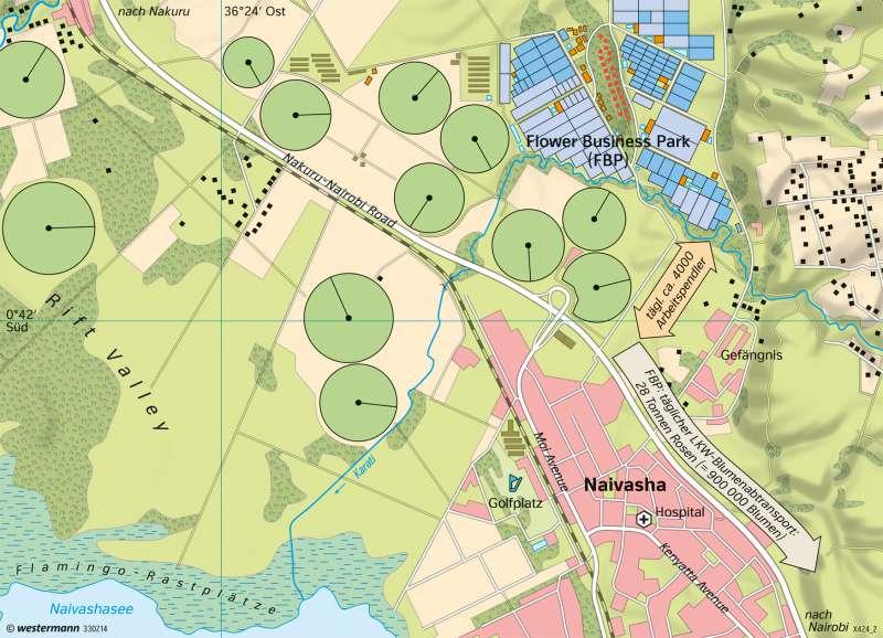 Naivasha (Kenia) | Rosenanbau für den EU-Markt | Afrika - Landnutzung | Karte 190/1