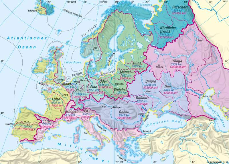 Europa | Küsten und Flüsse | Europa - Gewässer und Küsten | Karte 90/2