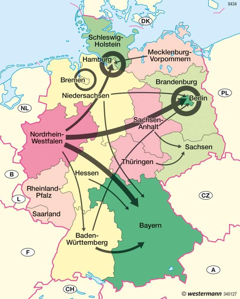 Deutschland   Binnenwanderung   Bevölkerung und Migration   Karte 51/7