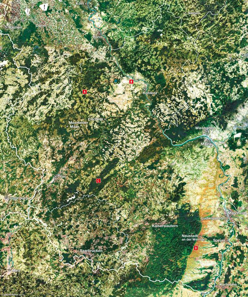 Rheinland-Pfalz   Satellitenbild   Vom Bild zur Karte   Karte 9/4