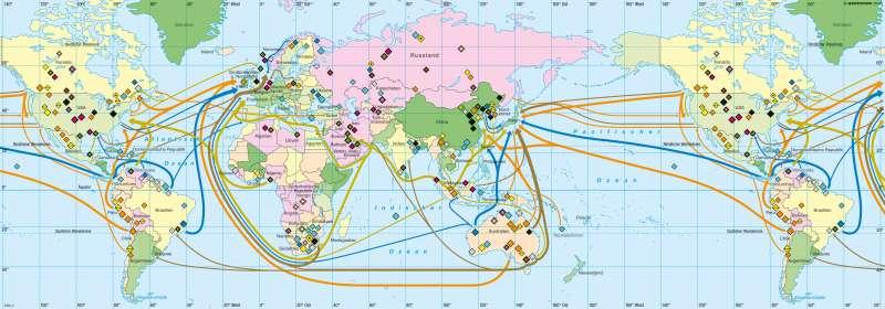 Erde | Fossile und metallische Rohstoffe | Wirtschaft | Karte 186/2