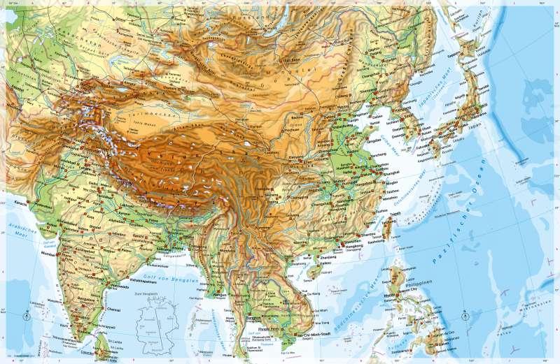 China Karte Physisch.Diercke Weltatlas Kartenansicht Südasien Und Ostasien