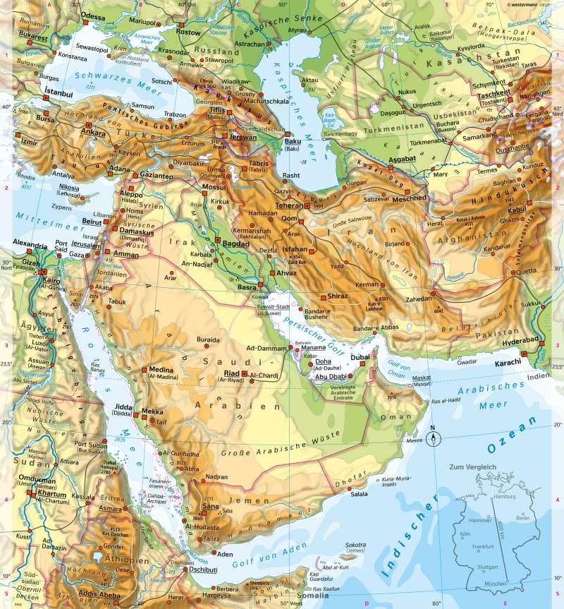 Westasien (Naher und Mittlerer Osten) | Physische Karte | Westasien - Physische Karte und Metropole Dubai | Karte 174/1