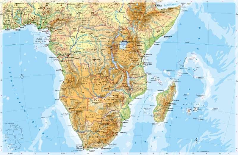 Afrika (südlicher Teil) | Physische Karte | Physische Karte | Karte 196/1