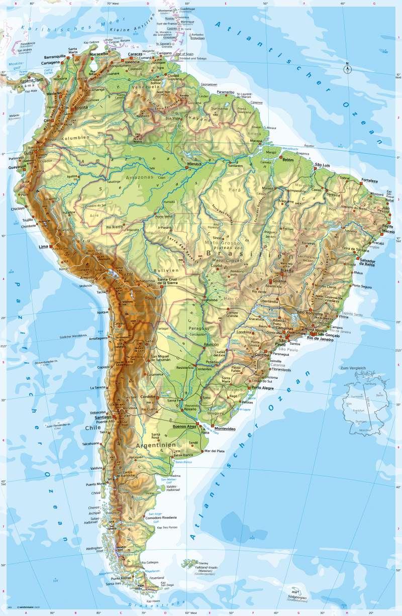 Physische Karte Lateinamerika.Diercke Weltatlas Kartenansicht Sudamerika Physische