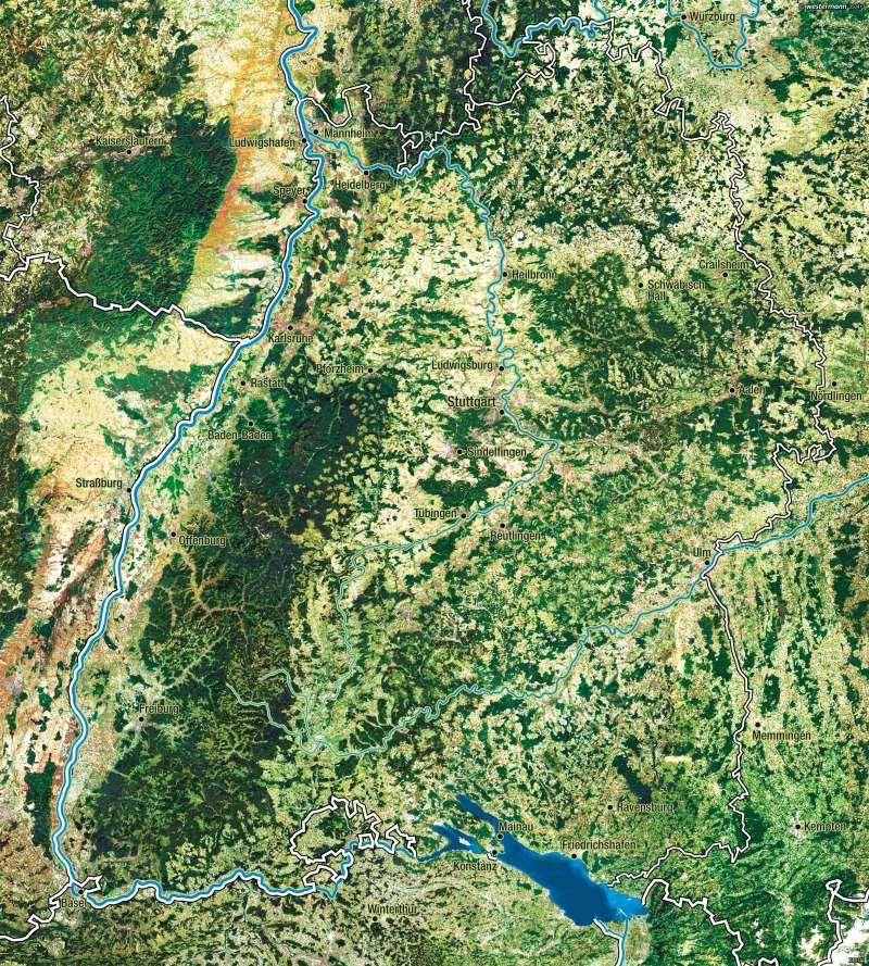 Baden-Württemberg   Satellitenbild   Vom Bild zur Karte   Karte 9/3