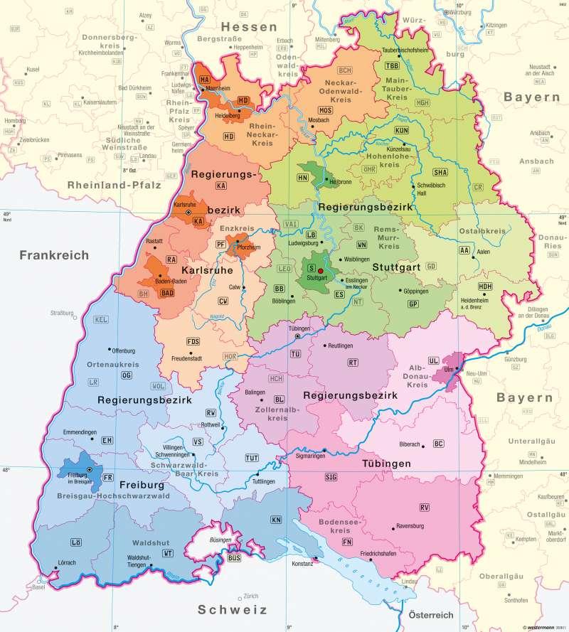 Diercke Weltatlas Kartenansicht Baden Wurttemberg Verwaltung