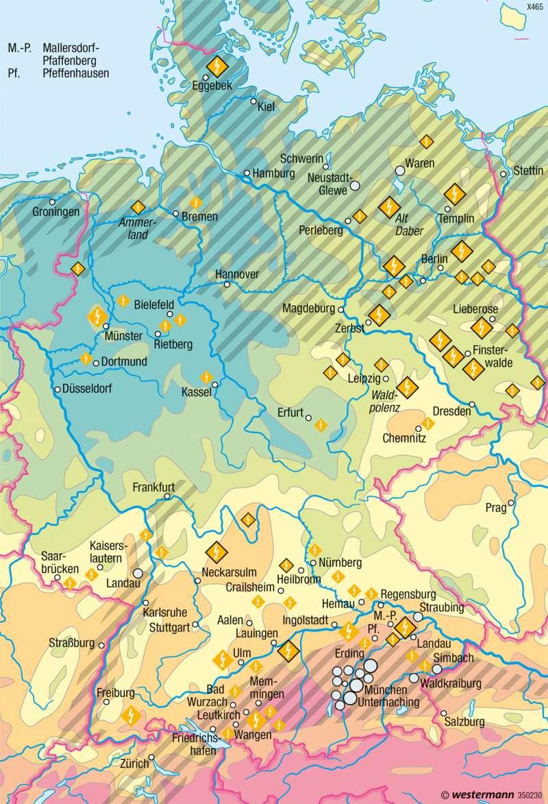 Deutschland | Sonnenenergie und Geothermie | Deutschland - Regenerative Energien und Nachhaltigkeit | Karte 68/1