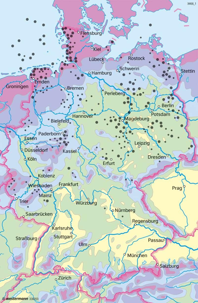 Deutschland   Erneuerbare Energie aus Wind   Deutschland - Energiewende   Karte 85/3