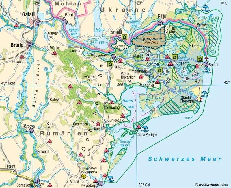 Diercke Weltatlas Kartenansicht Donaumundung Deltakuste