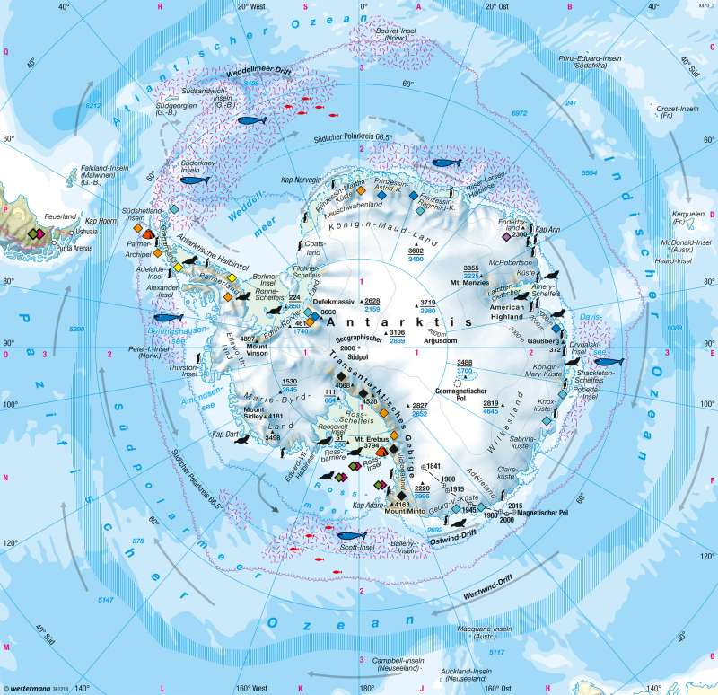 Südpolargebiet (Antarktis) | Naturraum | Polargebiete | Karte 239/4