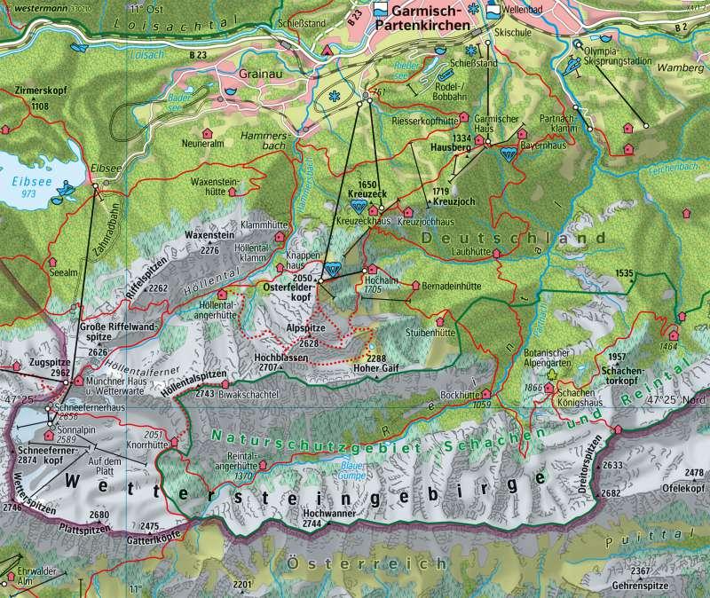 Wettersteingebirge | Tourismus | Alpen - Tourismus | Karte 95/3