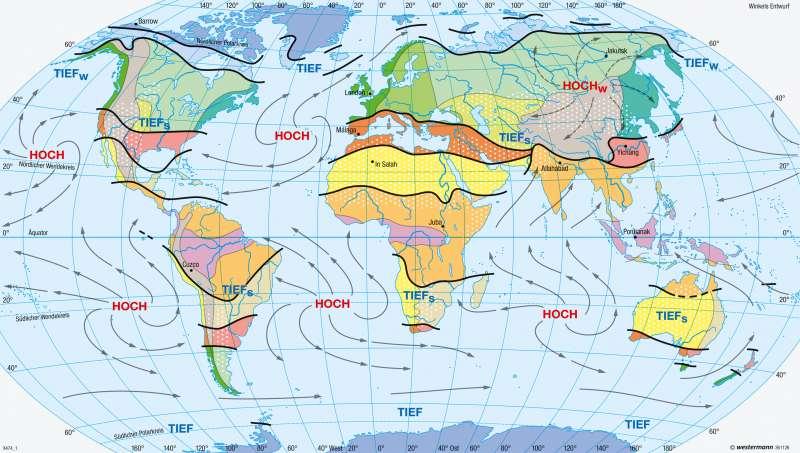 | Klimate der Erde nach E. Neef (1954) | Erde - Klima (genetische Gliederung), Luftdruck und Winde | Karte 248/1
