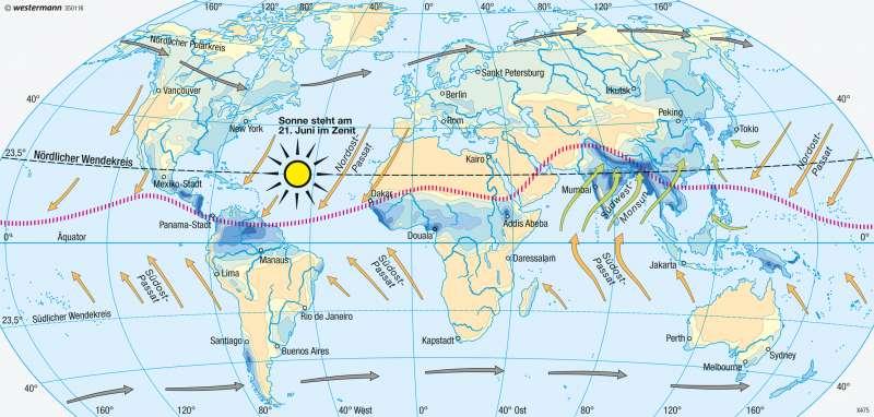 Erde | Niederschläge im Juli (Nordsommer/Südwinter) | Erde - Klima (effektive Gliederung) und Niederschläge | Karte 247/4