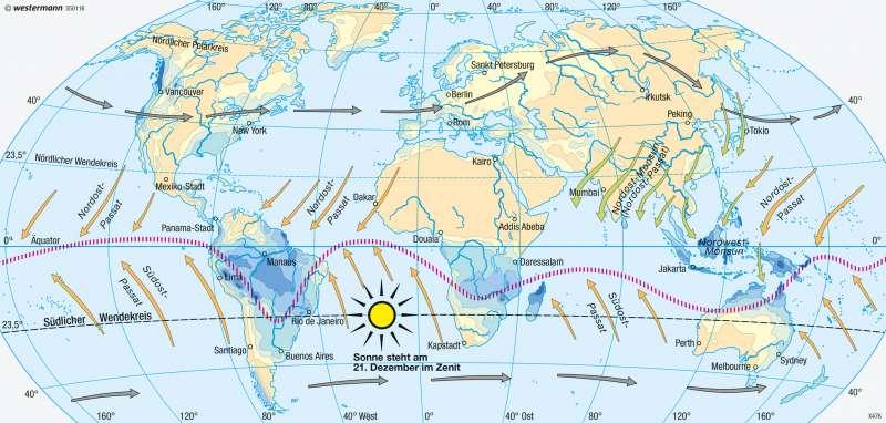 Erde | Niederschläge im Januar (Nordwinter/Südsommer) | Erde - Klima (effektive Gliederung) und Niederschläge | Karte 246/3