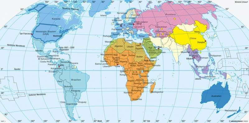 Erde | Politische und militärische Bündnisse | Erde - Geopolitik | Karte 280/1
