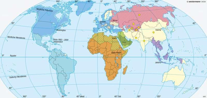 Erde | Politische und militärische Bündnisse | Staaten, Bündnisse, Zeitzonen | Karte 226/2