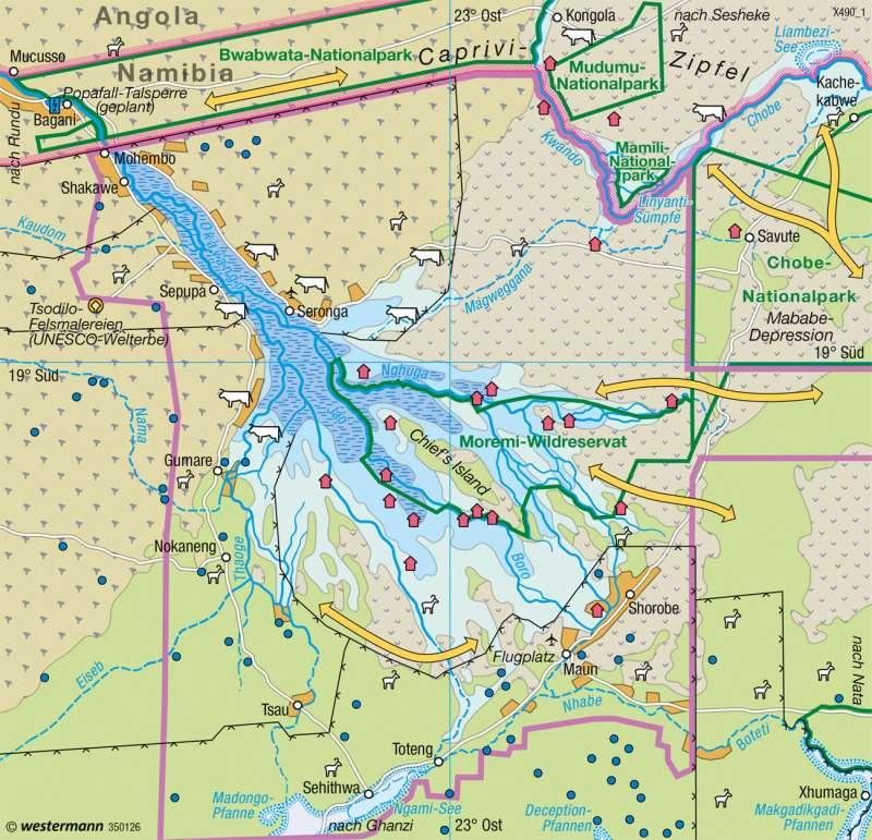 Okavango-Binnendelta (Botsuana) | Weltnaturerbe | Afrika - Ökozonale Landnutzung | Karte 150/4