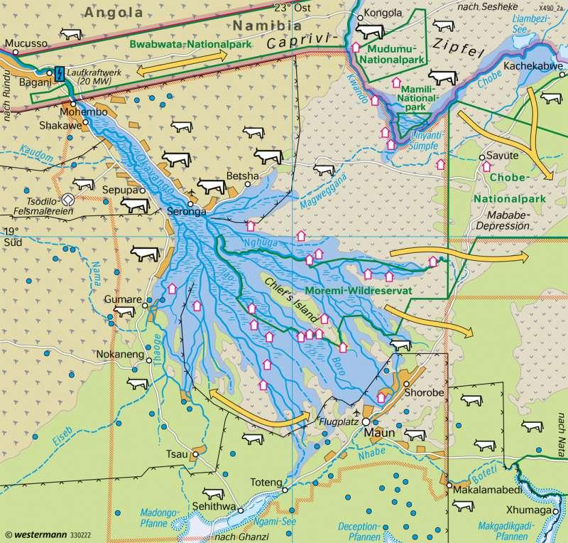 Okavango-Binnendelta (Botsuana) | Landnutzung | Afrika - Landnutzung | Karte 190/2