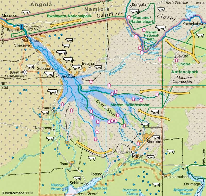 Okavango-Binnendelta (Botsuana)   Landnutzung   Afrika - Landnutzung   Karte 190/2
