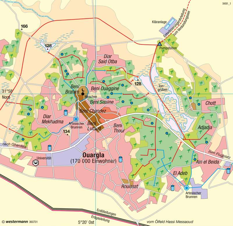 Ouargla (Algerien) | Brunnenoase | Afrika - Ökozonale Landnutzung | Karte 150/1