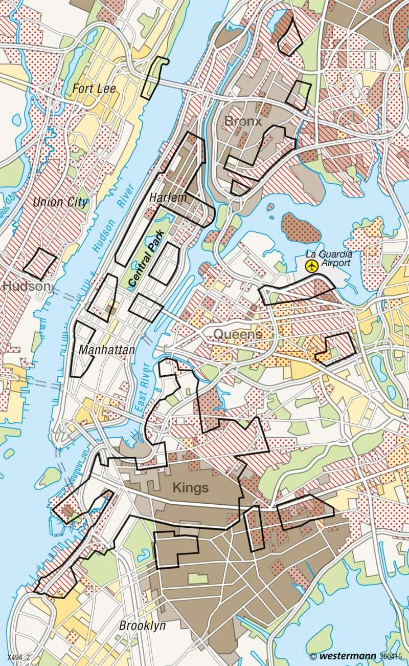 New York | Kulturgeprägte Wohngebiete | USA - Städte | Karte 219/2