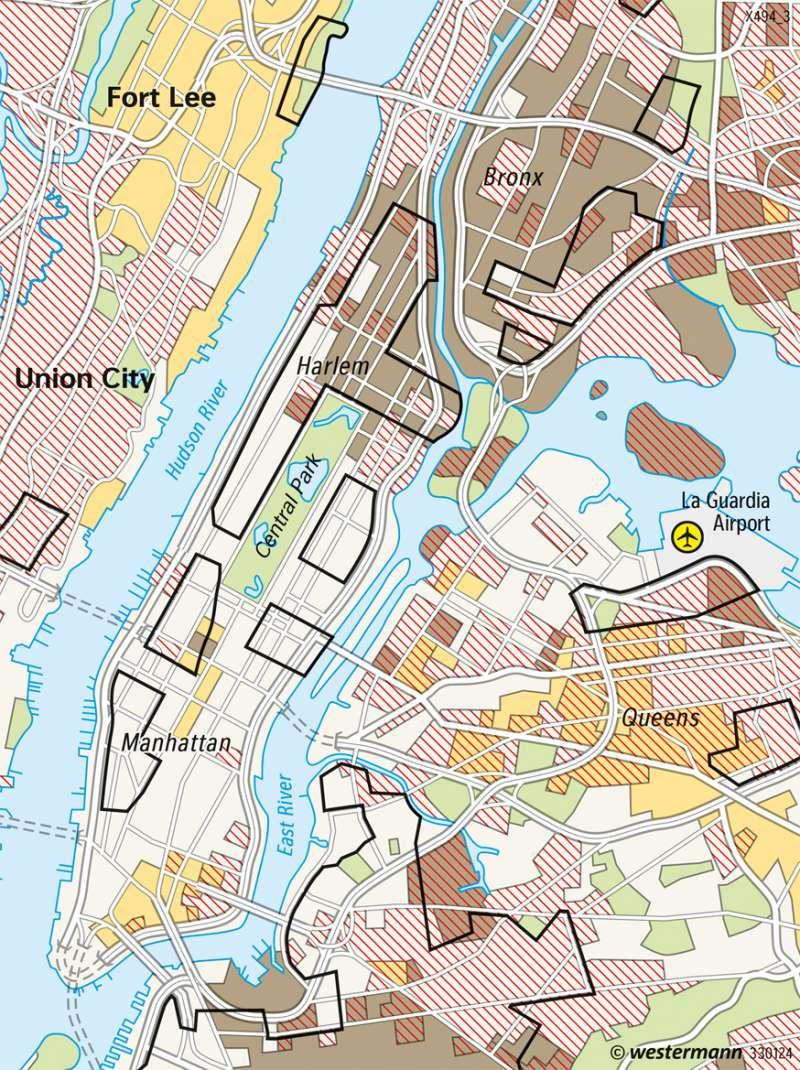 New York | Kulturgeprägte Wohngebiete | USA | Karte 225/4