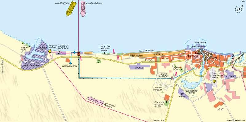 Dubai   Ausbau zur Tourismusmetropole   Westasien - Physische Karte und Metropole Dubai   Karte 175/2