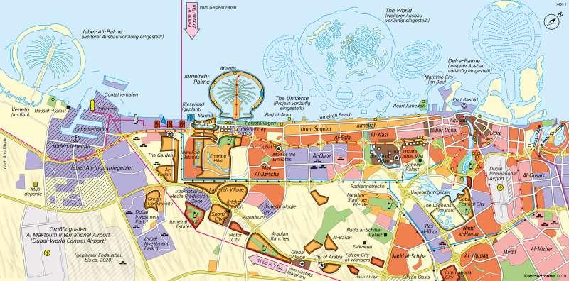 Dubai | Ausbau zur Tourismusmetropole | Westasien - Physische Karte und Metropole Dubai | Karte 175/2
