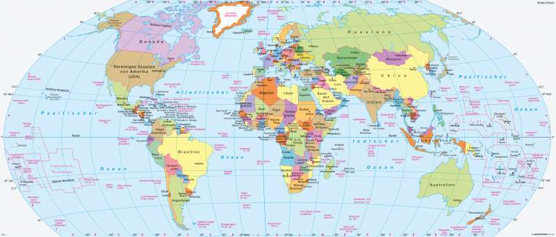Erde   Politische Übersicht   Staaten, Bündnisse, Zeitzonen   Karte 226/1