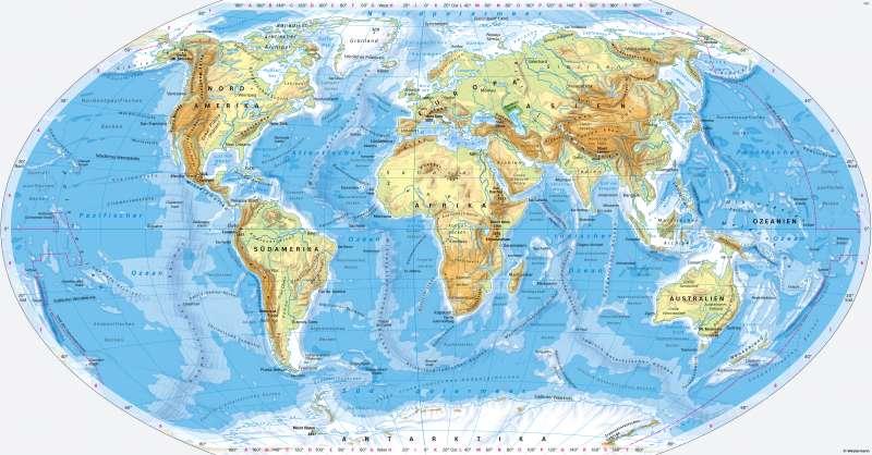 Erde | Physische Übersicht | Orientierung | Karte 8/2