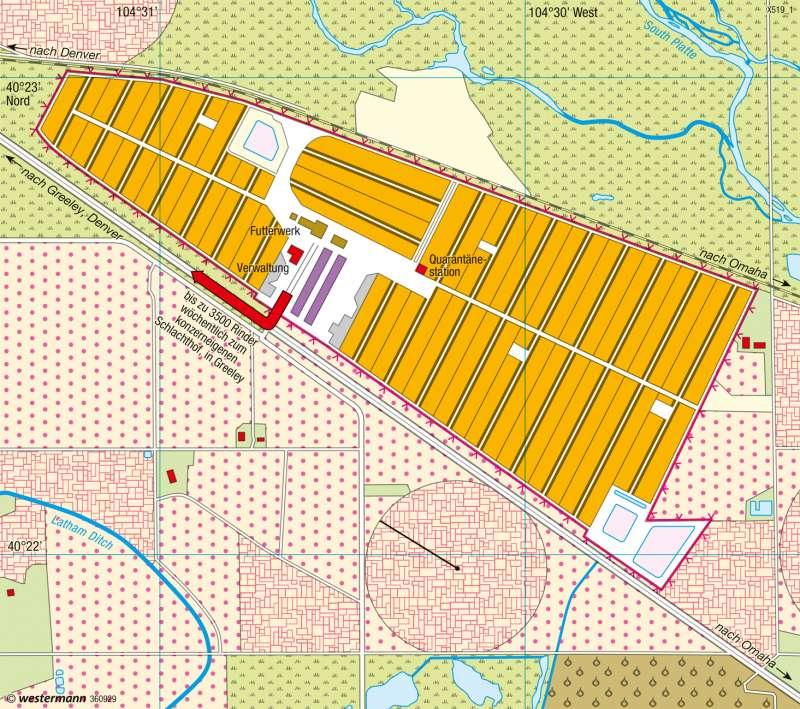 Kuner Feedlot (Colorado) | Rindermastbetrieb | USA - Landnutzung im Mittelwesten | Karte 220/2