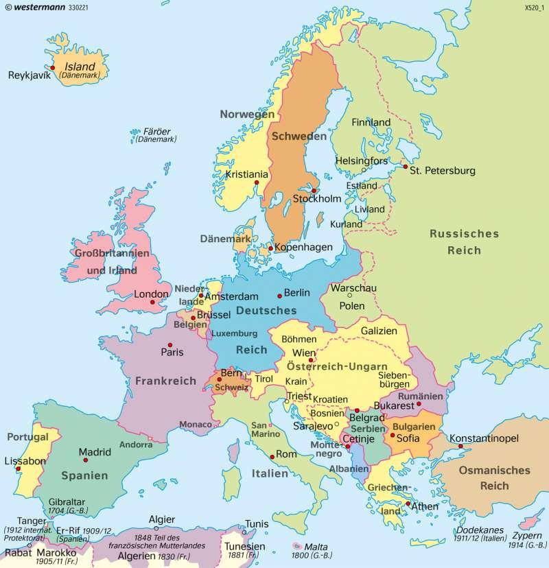 Europa | 1914 (vor dem Ersten Weltkrieg) | Europa | Karte 106/1