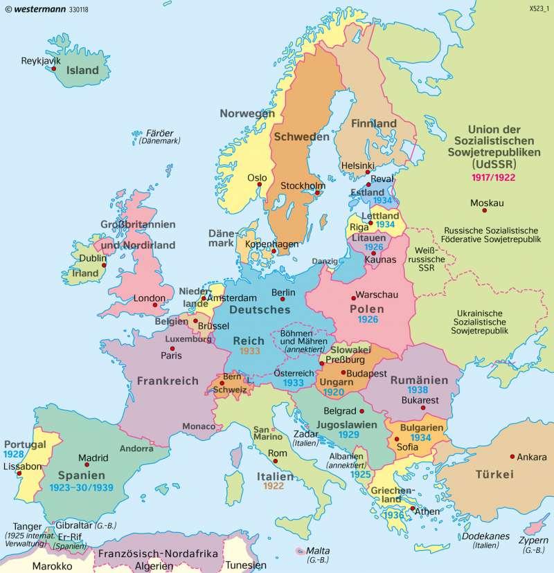2 Weltkrieg Karte.Diercke Weltatlas Kartenansicht Europa 1939 Vor Dem