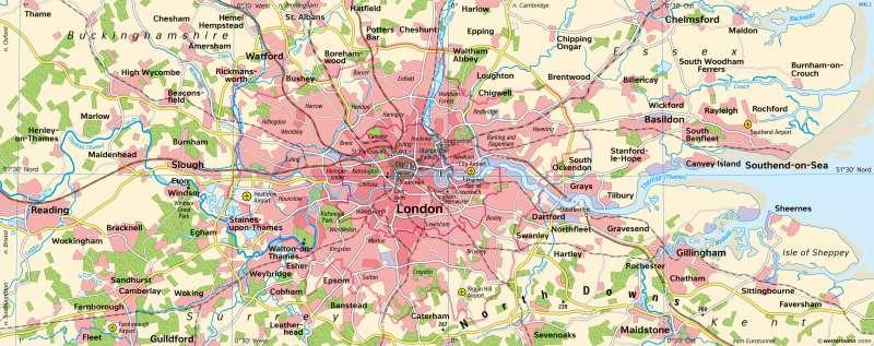 London | Verdichtungsraum | London - Stadtentwicklung | Karte 130/1