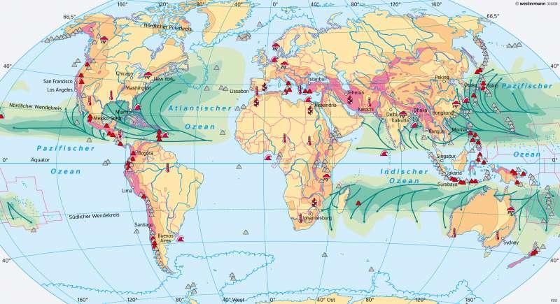 Erde | Naturgefahren/Naturrisiken | Erde - Naturgefahren und Landschaftswandel | Karte 18/2