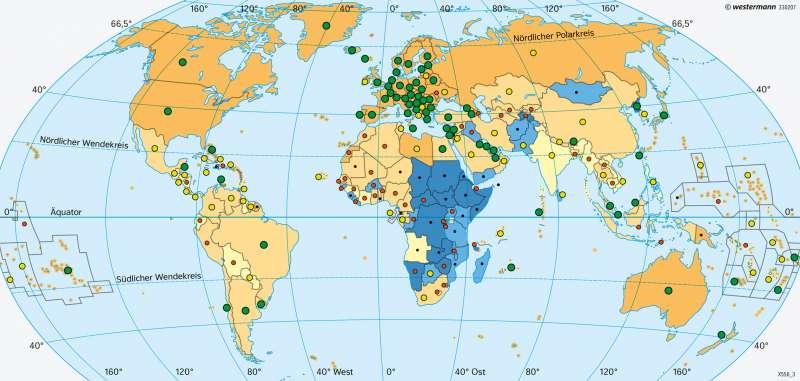 Ernährung und Gesundheit      Erde - Entwicklungsstand der Staaten   Karte 41/5