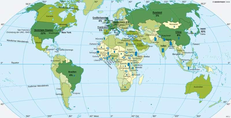 Erde | Vereinte Nationen (VN)/United Nations (UN) | Erde - Staatengemeinschaften | Karte 32/1