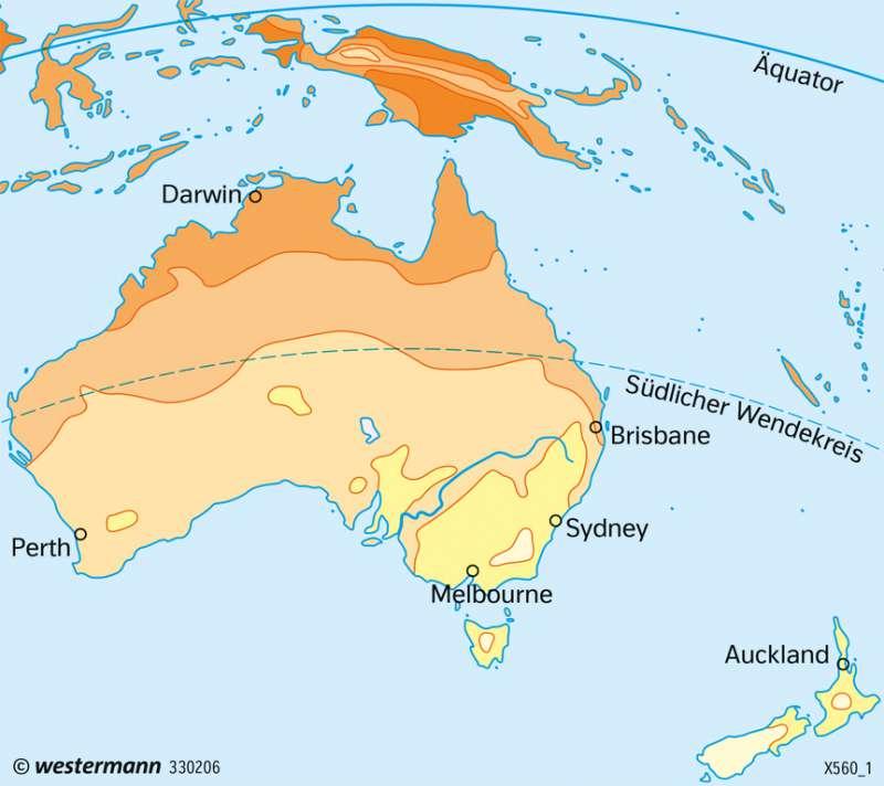 Australien und Neuseeland   Temperaturen im Juli   Australien und Neuseeland - Wirtschaft   Karte 200/4