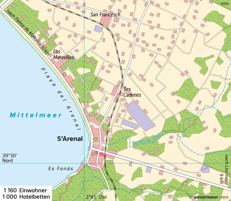 Mallorca Karte Strande.Diercke Weltatlas Kartenansicht S Arenal Mallorca