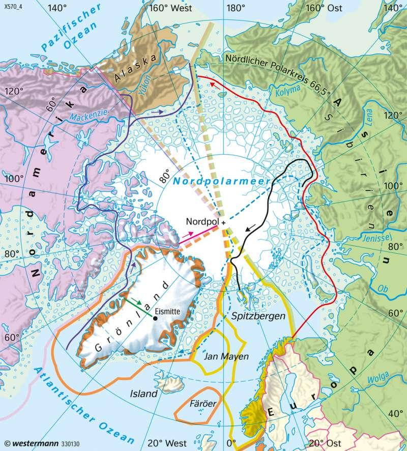 Arktis | Entdeckungen und Hoheitsansprüche | Polargebiete - Antarktis und Arktis | Karte 204/3