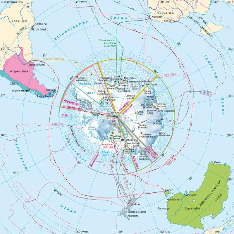 Südpolargebiet (Antarktis) | Entdeckungen und Hoheitsansprüche | Polargebiete - Antarktis und Arktis | Karte 204/1
