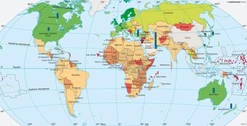 Erde   UN-Ziel Entwicklungszusammenarbeit   Erde - Staatengemeinschaften   Karte 32/2