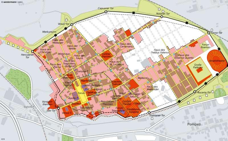 Pompeji | 79n.Chr. durch einen Vulkanausbruch zerstörte Römerstadt | Italien - Kulturlandschaften in Antike und Gegenwart | Karte 140/2