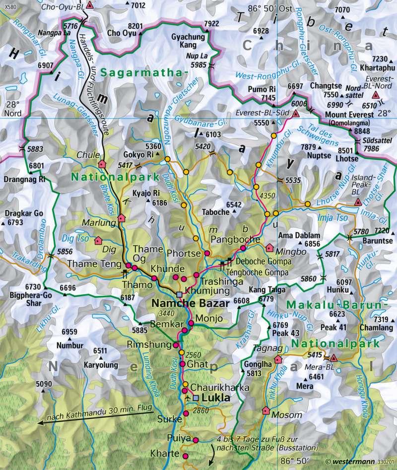 Mount Everest | Tourismus | Eurasien - Orientierung | Karte 152/2