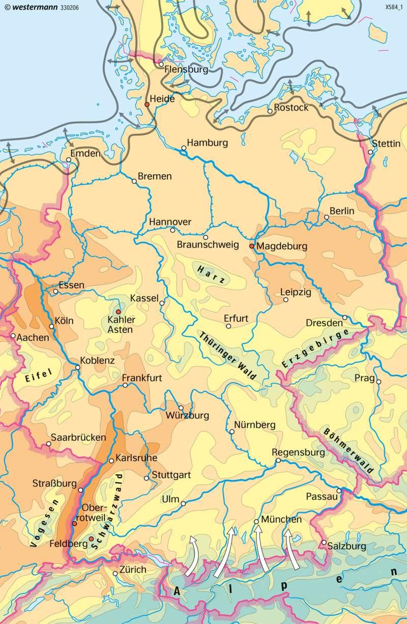 Deutschland | Temperaturen im Jahr | Deutschland - Klima | Karte 79/2