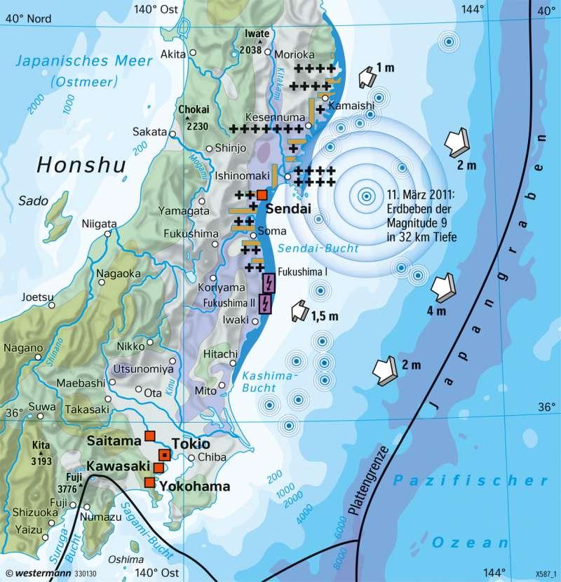 Honshu (Japan) | Tohoku-Beben | Japan - Naturrisiken und Wirtschaft in einem Industrieland | Karte 169/4